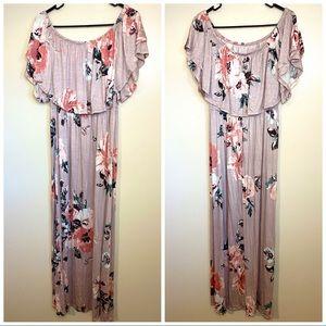 NWOT Sweet Pea Off Shoulder Rose Floral Maxi Dress